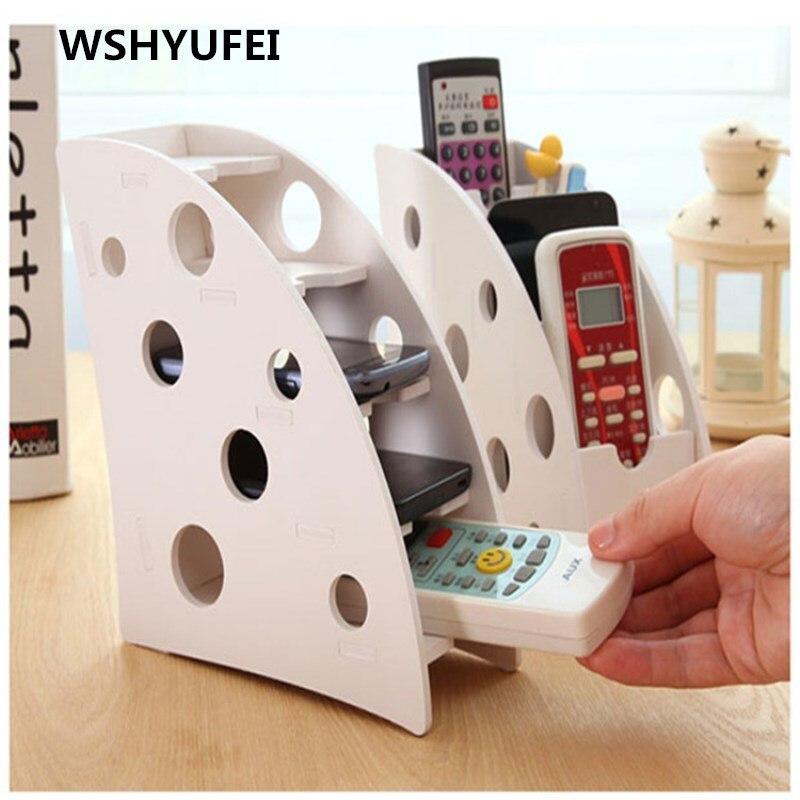 Eco-friendly Plastic DIY Wood TV Air Conditioner Remote Control Holder Home Office Sundries Storage Case Desk Organizer Box