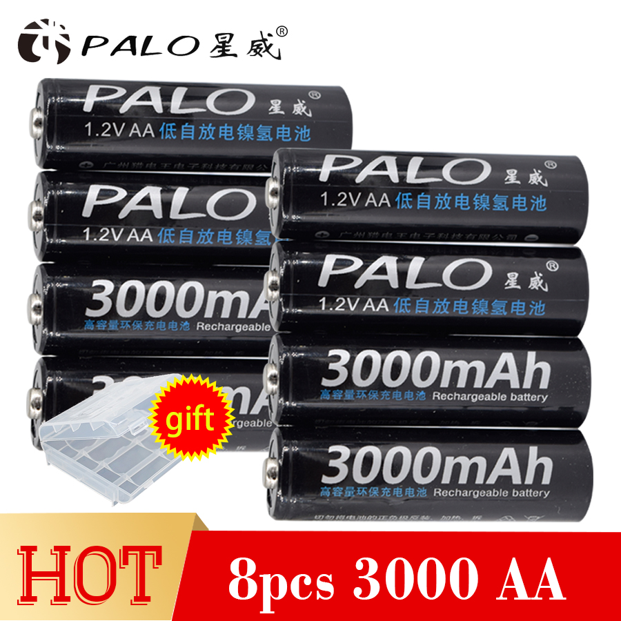 PALO 8Pcs Original 1.2V AA Battery Rechargeable Battery 3000mah 2A Batteries Ni-MH Battery for Flashlight Microphone Camera Toys new 1pc aa 3000mah 1 2v rechargeable battery nimh tip head batteries baterias bateria for flashlight torch camera mp3 mp4