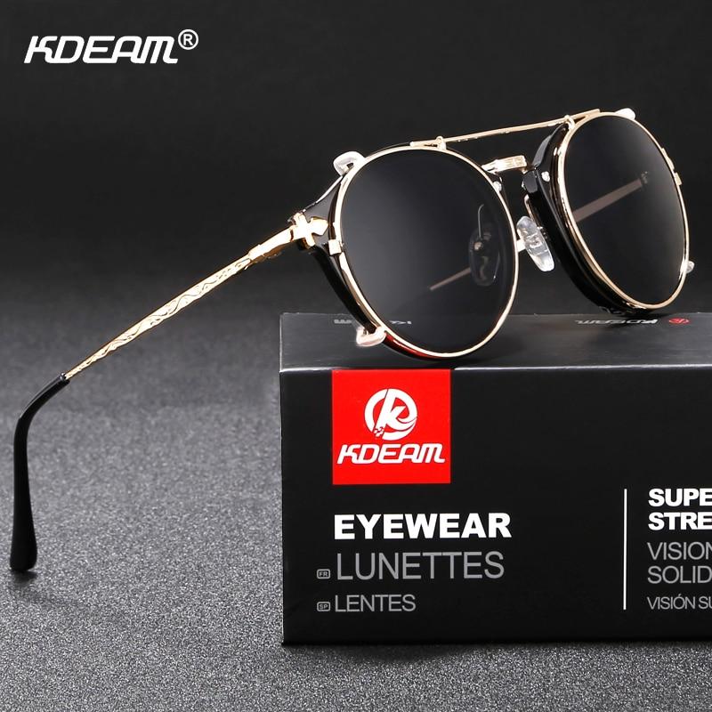 Kdeam Happy Clip On Sunglasses Men Removable Round Glasses Steampunk Women Carve Design Sunglass With Brand Box