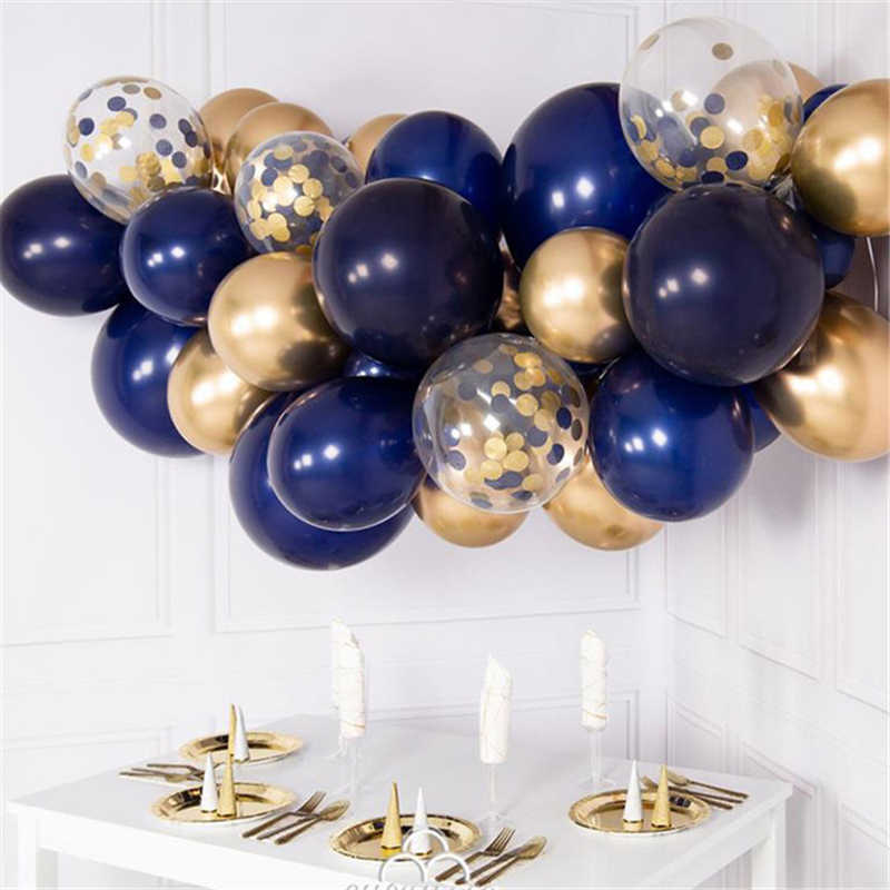 Balloons Garland Kit Navy Blue Chrome Gold Confetti Organic Balloons Arch Wedding Engagement 21 Birthday