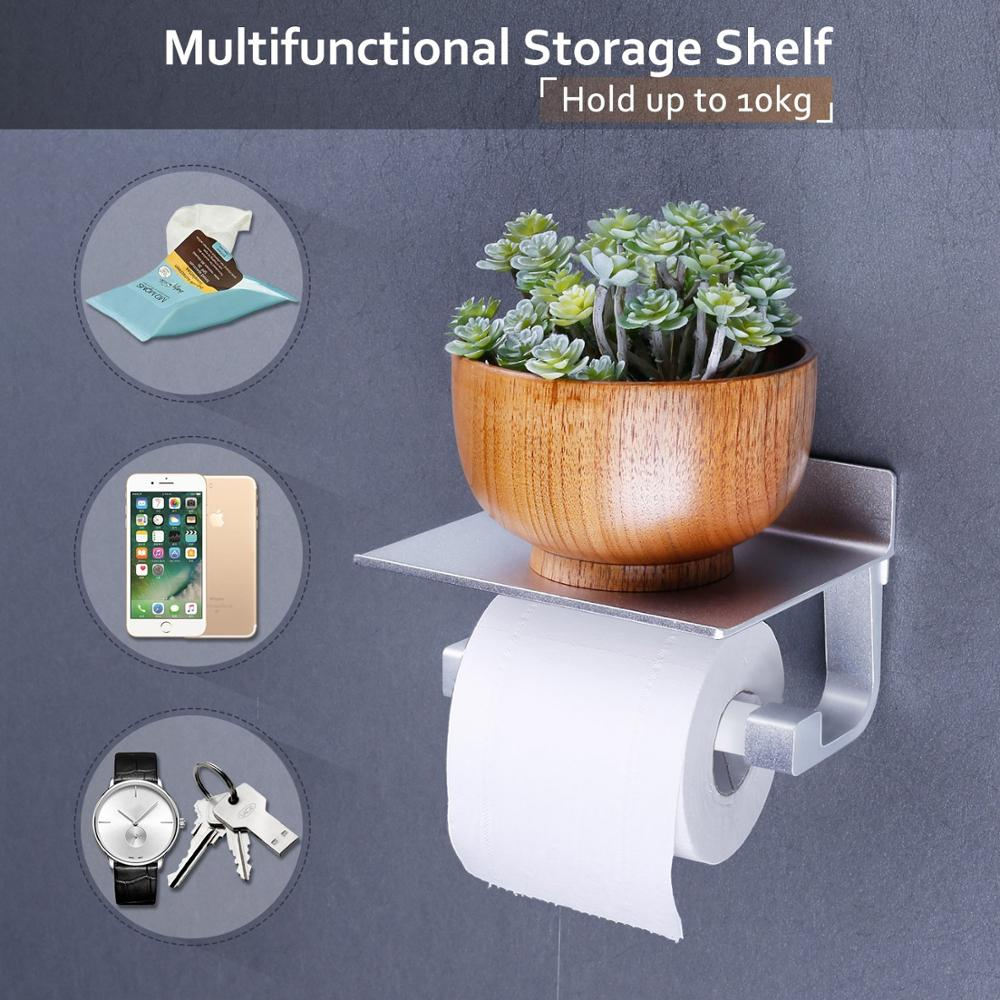 No Drilling Stainless Steel Toilet Paper Self Adhesive Roll Holder with Phone Holder Shelf Stand WC Tissue Holder for Bathroom