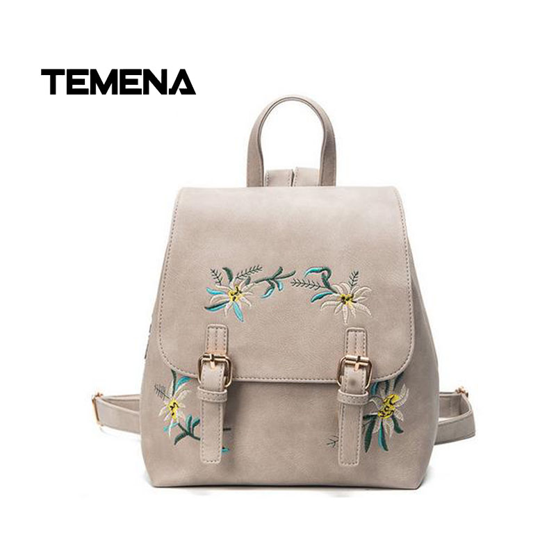 Temena New Floral Pu Leather Backpack Women Embroidery School Bag For Teenage Girls Brand Ladies Small Backpacks Mochila BBP347 2017 new embroidery butterfly women backpack school bags for girls brand shoulder bag fashion pu leather ladies travel backpacks