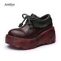 Artdiya/2019 г. Оригинальная обувь из мягкой натуральной кожи на высоком толстом каблуке удобная женская обувь для отдыха ручной работы A10 2
