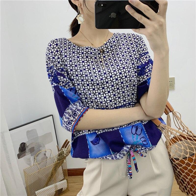 En el verano de 2019 las nuevas señoras impreso seda con la camiseta de manga cerrada en la cintura-in Camisetas from Ropa de mujer    1