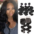 Grade 8A Malaysian Virgin Hair With Closure Cheap Malaysian Human Hair Weave 3 Bundles Malaysian Body Wave With Lace Closure