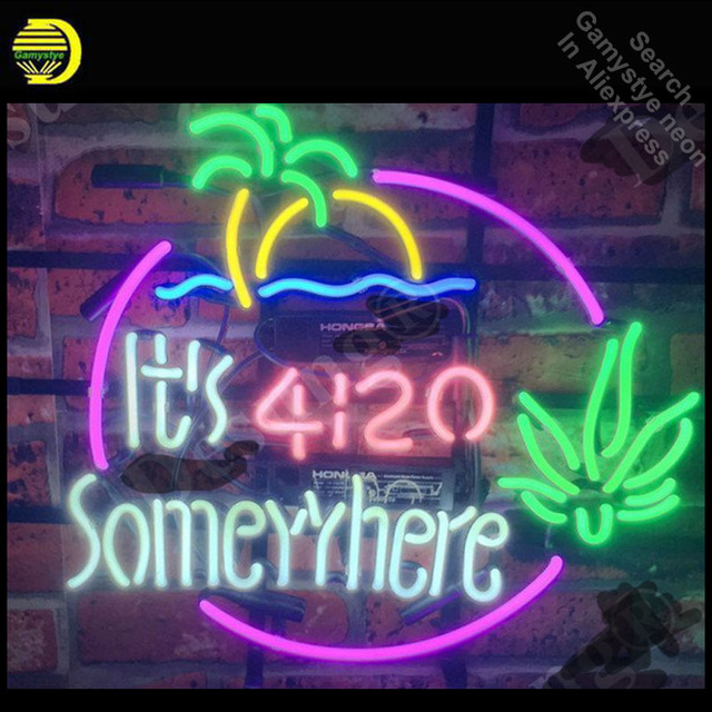 Neon Sign for It's 4:20 Somewhere Palm Tree Neon Bulb sign handcraft Signboard Glass tube Dropshipping personalized neon lights
