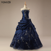 Navy Blue Quinceanera Dresses Long 2018 Puffy Ball Gown Embroidery Purple Red Vestido Debutante Sweet 16 Vestidos De 15 Anos