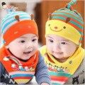 Новый 2017 новорожденный ребенок шляпа девушки шляпы полосой шапочка бандана нагрудники слюна полотенце платок набор аксессуары для младенцев cap boy хлопок hat