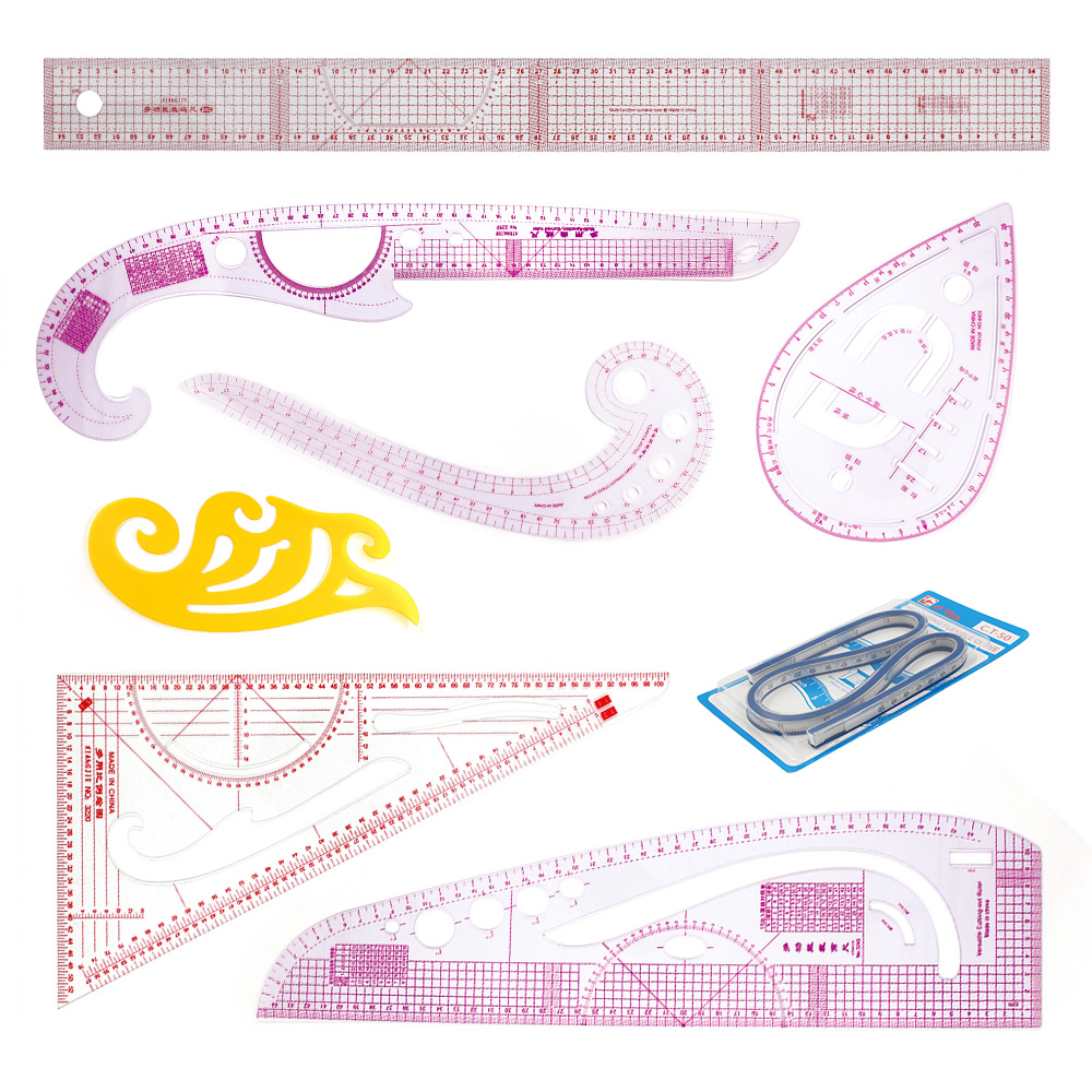 5Pc Acrylic Quilting Ruler Set for Tailor DIY Clothing Sewing Pattern Design