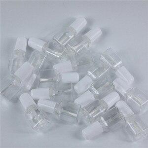 Image 3 - 10ピース/ロット5グラムミニかわいいクリアプラスチック空平方爪ポリッシュボトルで白キャップブラシプラスチックネイルボトル子供のため