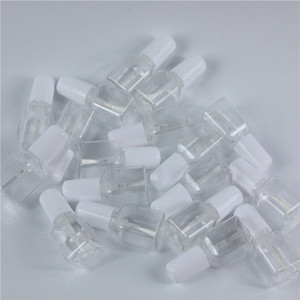 Image 3 - 10pcs/lot 5g Mini Cute Clear Plastic Empty Square Nail Polished Bottle With White Cap Brush Plastic Nail Bottle For Children