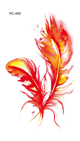 Waterproof Temporary Tattoo beautiful flaming feathers tatto stickers flash tatoo fake tattoos for girl women lady