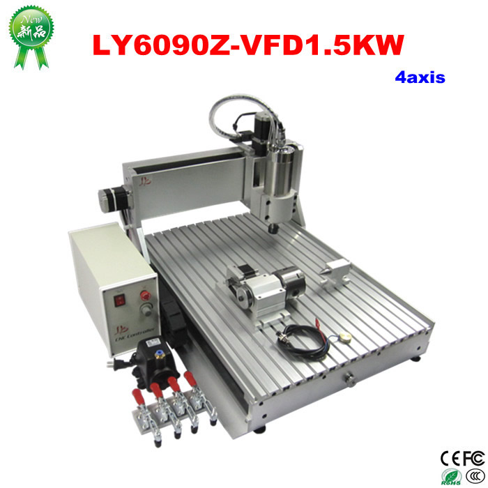 CNC wood router LY6090 Z-VFD1.5KW 4axis cnc router engraver cnc milling machine with 4axis for wood metal carving, can do 3D 4 axis cnc machine cnc 3040f drilling and milling engraver machine wood router with square line rail and wireless handwheel