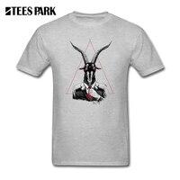 Men T Shirt Tops Goat Print Clothing SATAN S A Mens Natural Cotton Tops Short Sleeve