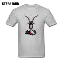 Men T Shirt Tops Goat Print Clothing SATAN S A Mens Natural Cotton Tops Short Sleeve