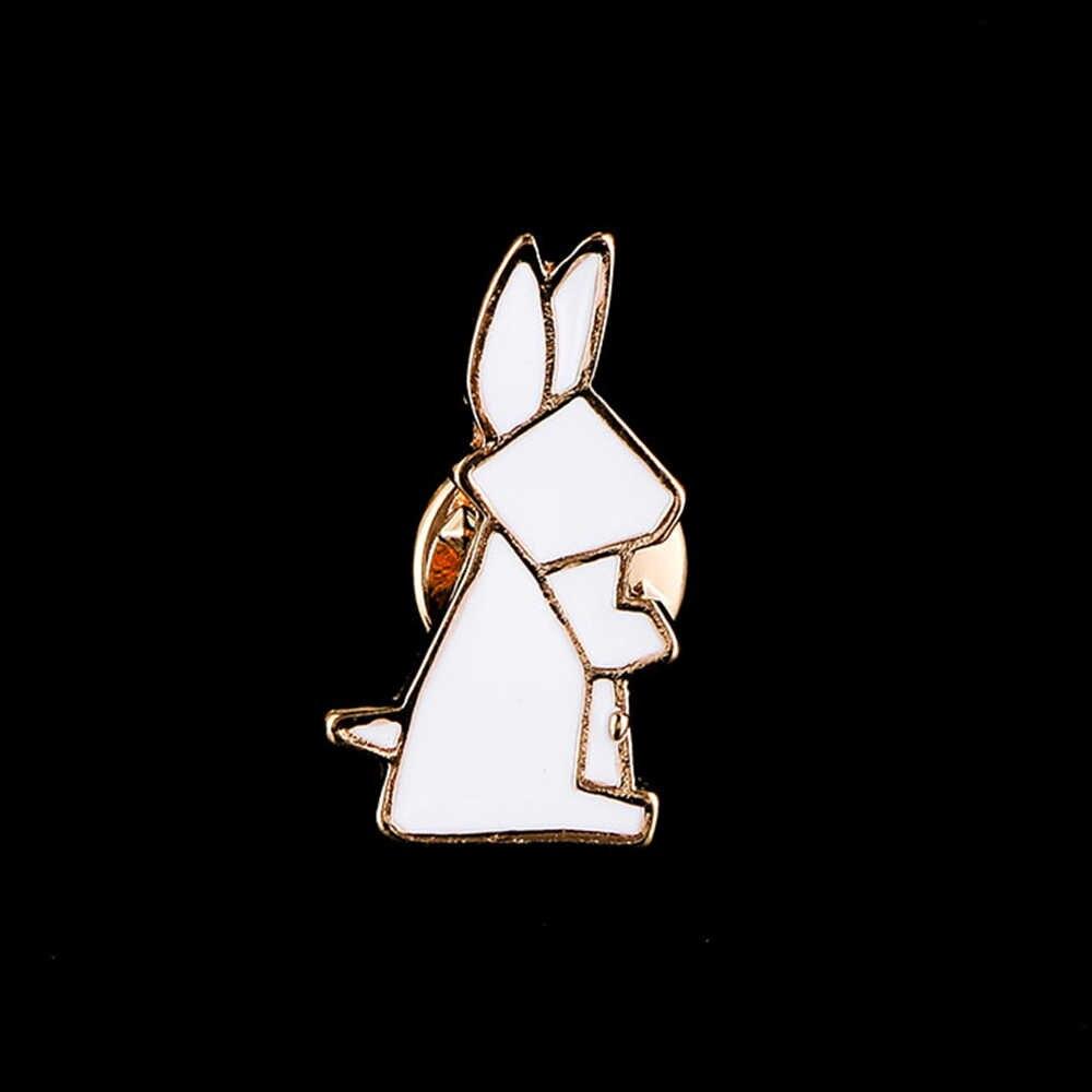 Origami zwierzęta broszki odznaka przypinka na hidżab dla kobiet dziewczynki dzieci Cute Bunny sowa Fox Swan Iceberg emaliowane broszki ubrania akcesoria