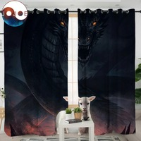 The Lamb and the Dragon by JoJoesArt Bedroom Curtain 3D Print Blackout Curtain for Living Room Kitchen Evil Animal Drapes 1/2pcs