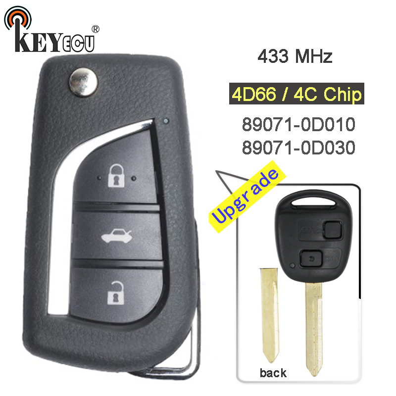 KEYECU 433MHz 4D66/ 4C Chip P/N: 89071-0D010/ 89071-0D030 Upgraded Flip Folding 2 <font><b>Button</b></font> <font><b>Remote</b></font> <font><b>Key</b></font> Fob for <font><b>Toyota</b></font> Yaris <font><b>Avensis</b></font> image