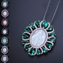 Seven Colors Blue Green Virgin Mary Pendant Necklace Cubic Zirconia with Shell Pearl Crystal Pendant Necklace for Women PGY001