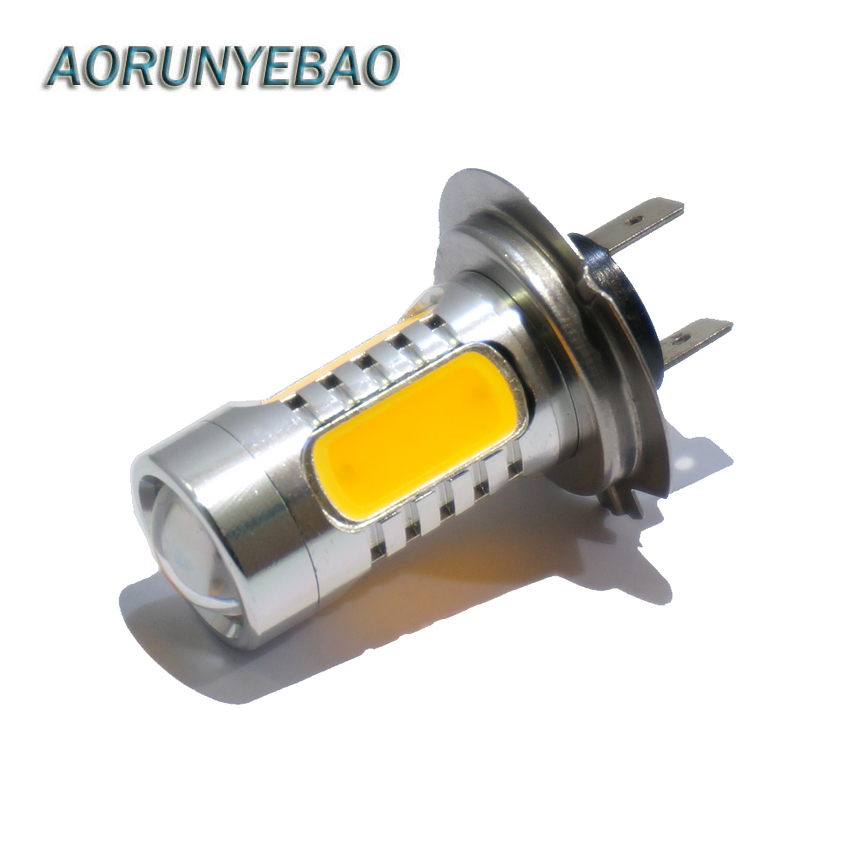 AORUNYEBAO 12 V 24 V H7 led 7.5 W 5LED COB Wit geel RODE mistlampen Hoofdstaart Rijden Auto Licht auto stying