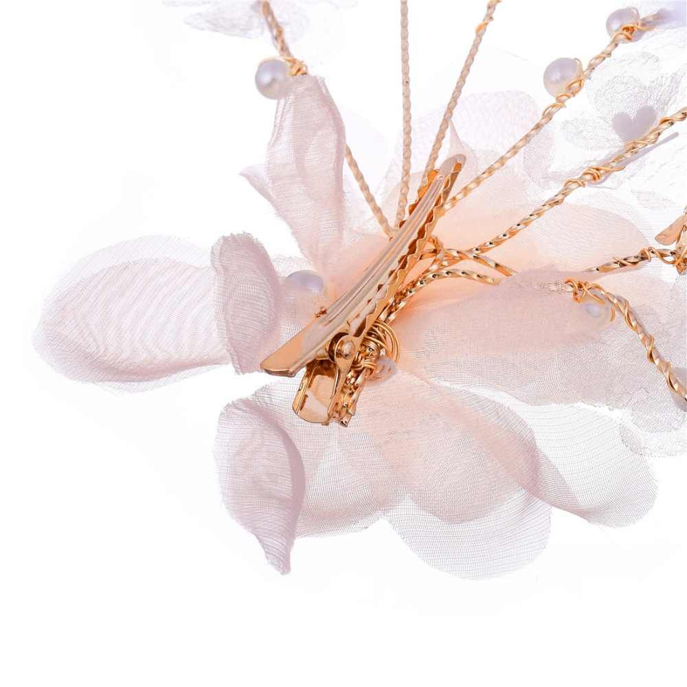 Fashion bride hair accessories wedding lace pearl pink flowers tiara hairpin wedding bride pop street shoot travel hairpin hair