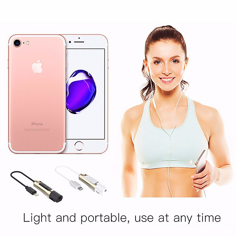 7 Plus 2-in-1 Earphone Audio+Charger Adapter For iPhone 7 Lightning to 3.5 mm Headphone Jack Cable w Volume Adjustment  Button (8)