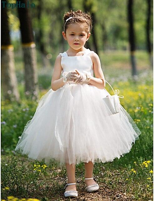 White Tea length Flower Girl Dresses Kids Baby Ball Gown Pageant ...