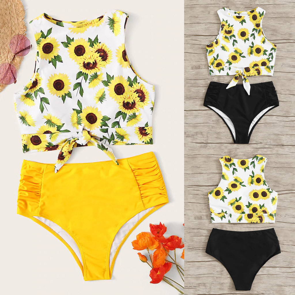 Summer Swimwear Women's Bikini Set Two Piece Knot Front Crop Top Swimsuit with Floral Bottom Ladies Sexy Split Swimsuit(China)