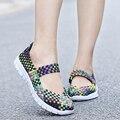 2016 Weave Новая Мода Женская Обувь Весна Осень Смешанный Цвет Клетчатый Дышащий Спорта Повседневная Обувь Теннис Женщина Для