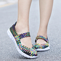 2016 Weave New Fashion Womens Shoes Spring Autumn Mixed Color Checkered Breathable Sport Casual Shoes Tenis Feminino