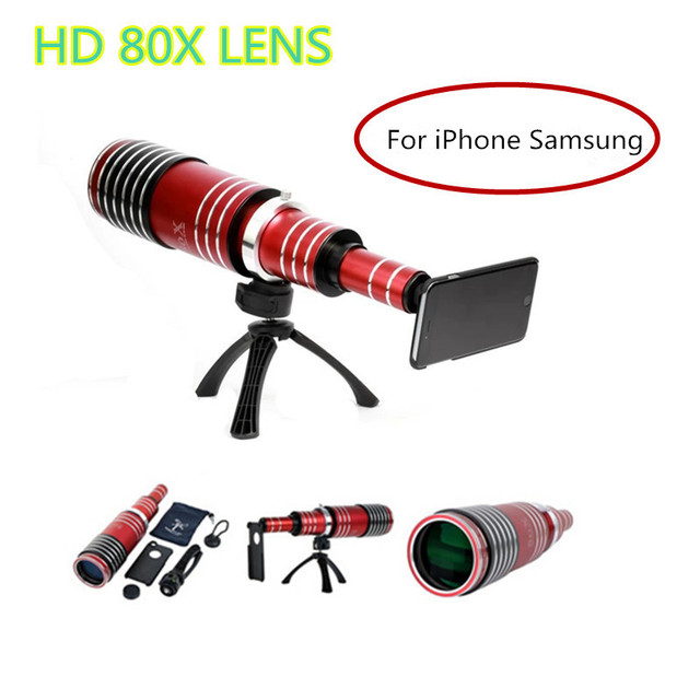 De gama alta 3in1 80x metal teleobjetivo zoom para iphone 5 5s 6 6 s 7 además telescopio kit de lentes de cámara del teléfono móvil para samsung