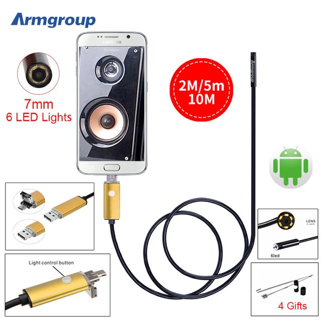 Oro 7 MM 2 M 5 M 10 M USB OTG Android Cámara HD Endoscopio Boroscopio Cámara de Inspección USB SnakeTube Endoscopio Cámara del teléfono Android
