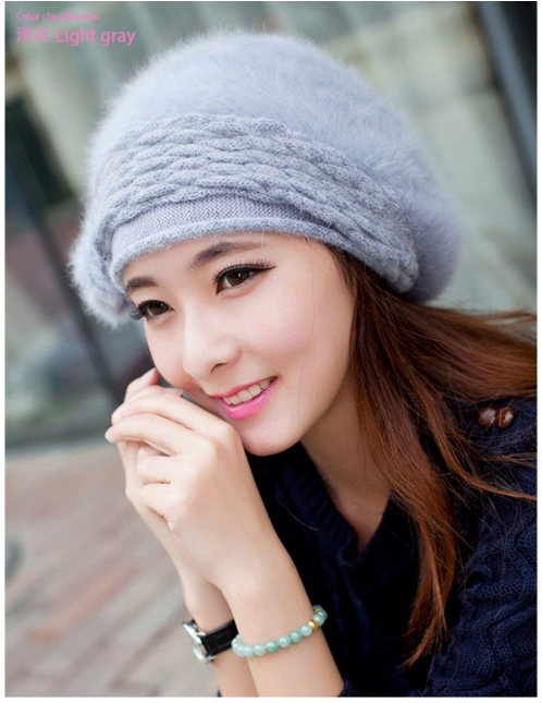 Solid Color Rabbit Womens Woolen Hat Winter Warming Wild Fashion Cute Berry Hat Light Gray
