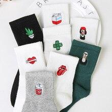Nuevos calcetines Harajuku para mujeres Japón bordado retro Cactus Rosa algodón literario divertidos calcetines para regalo femenino