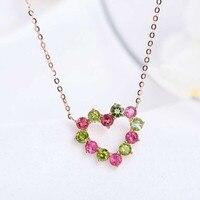 Fine jewelry завод новый дизайн мода 925 серебро натуральный драгоценный камень турмалин кулон цепочки и ожерелья для вечерние