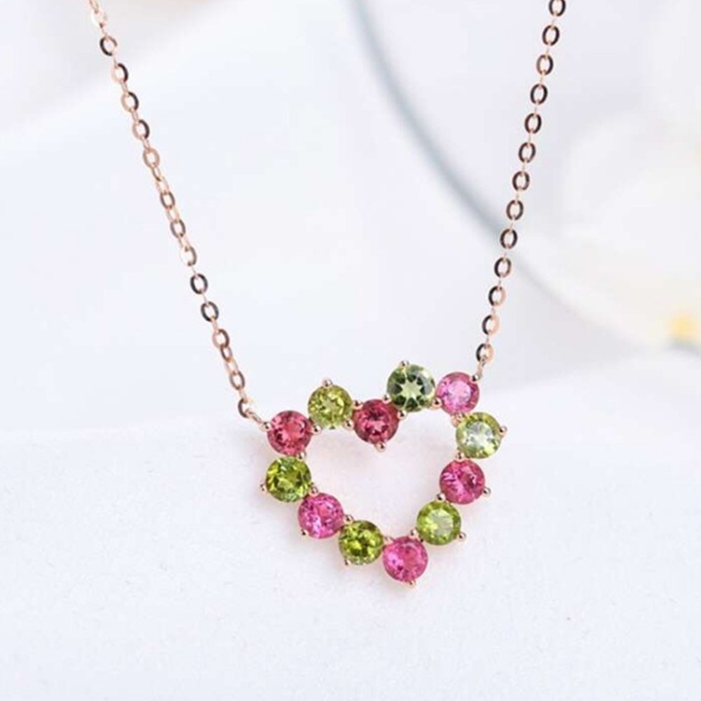 fine jewelry factory new designed trendy 925 sterling silver natural tourmaline gemstone pendant necklace for women party