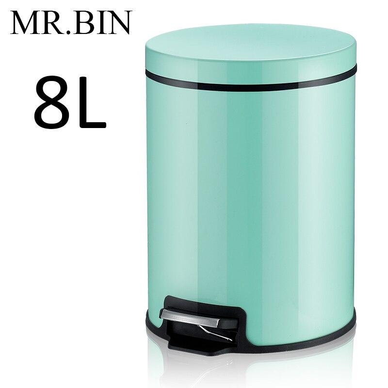 MR. BIN Макарон плюс мусорный бак с 5L/8L/12L ёмкость красочные педаль отходов Bin металлическая мусорная корзина для дома и кухня - Цвет: 8L Mint Green