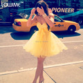vestido de formatura Yellow Homecoming Dresses Sweetheart Sleeveless Beading A Line Short Skirt Cheap Tulle Prom Party Gowns