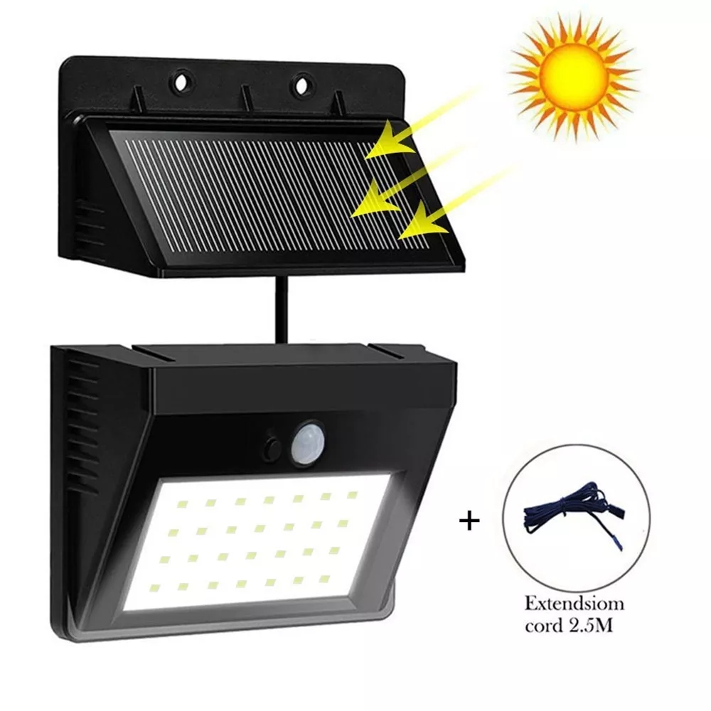 Apluses 30 LED Solar PIR Motion Sensor Security Lamp Separable 3 Mode Wall Light For