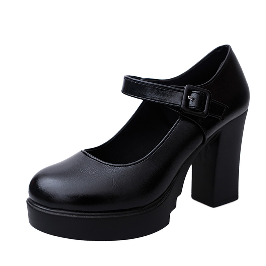 SAGACE Platform Pumps Shoes Buckle-Strap Thick-Heels Ankle-Work Sexy Casual High-Quality