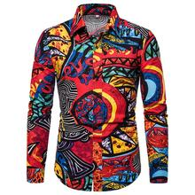 New Spring Men Casual Shirts Fashion Long Sleeve Brand Printed Button-Up Formal