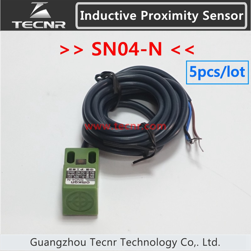 5pcs 3 wire open square Inductive Proximity Sensor Switch SN04-N normal open NPN DC24V for cnc router xsav11801 inductive proximity switch speed sensor motion rotate detector 0 10mm dc ac 24 240v 2 wire 30mm replace telemecanique