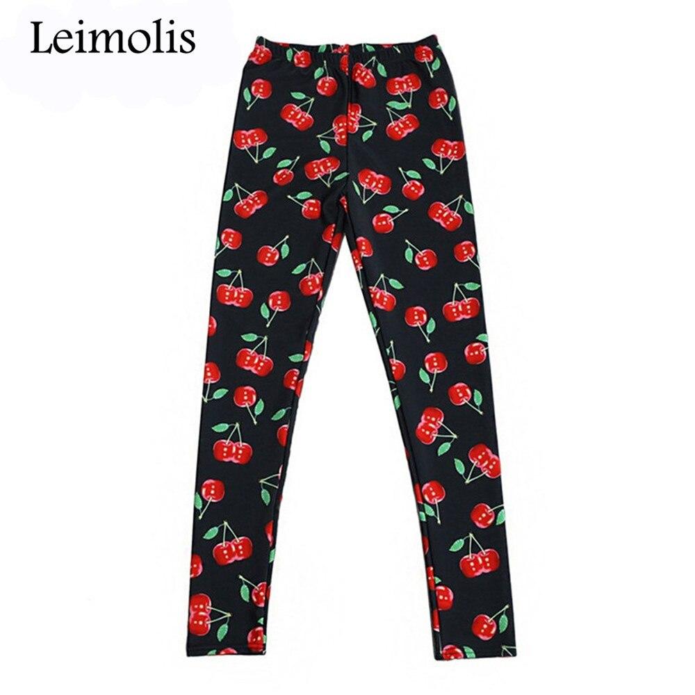 Leimolis 3D Printed Fitness Push Up Workout Leggings Women Sweet Cherry Black Plus Size High Waist Punk Rock Pants