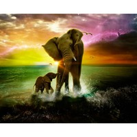 YTG Full 5D DIY Diamond Painting Elephant Needlework Embroidery Cross Stitch Round Rhinestone Home Decor Crafts