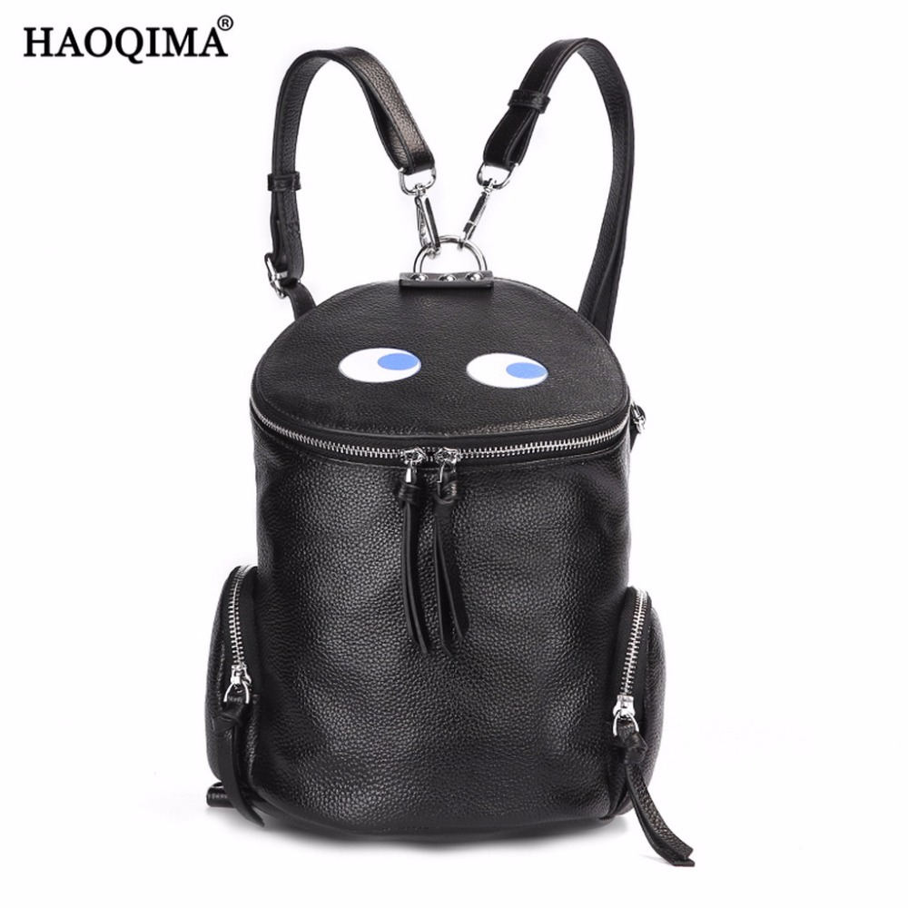 HAOQIMA 2017 New 4 Colors Genuine Leather Real Cowhide Women Backpack Shoulder Bag
