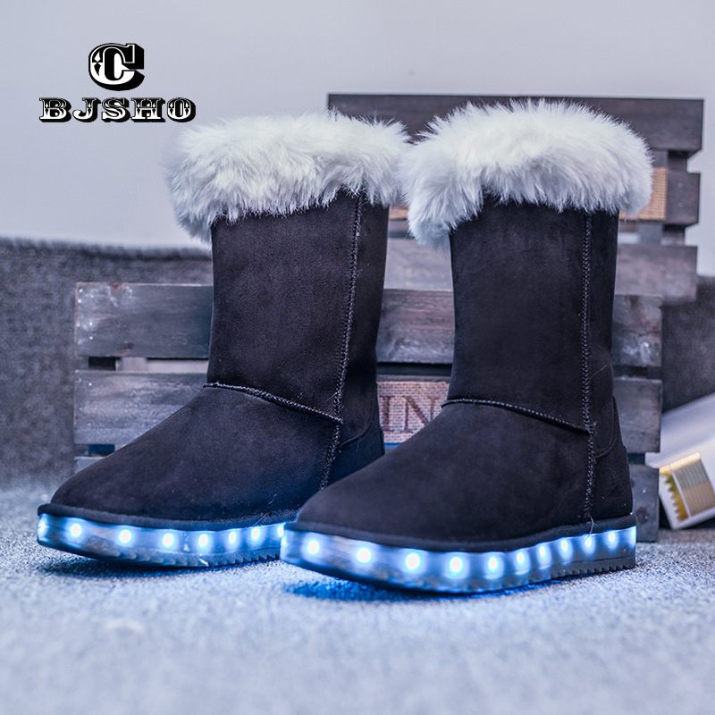 CBJSHO Fashion Glowing Light Led Shoes for Women Winter USB LED Bottine Femme Mid-Calf Snow Boots Fur Winter Boots Woman glowing sneakers usb charging shoes lights up colorful led kids luminous sneakers glowing sneakers black led shoes for boys