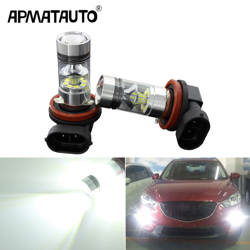 2x H8 H11 White <font><b>LED</b></font> canbus Bulbs 100w Reflector Mirror Design 3030 20SMD For Fog <font><b>Lights</b></font> For <font><b>mazda</b></font> 3 5 <font><b>6</b></font> xc-5 cx-7 axela atenza image