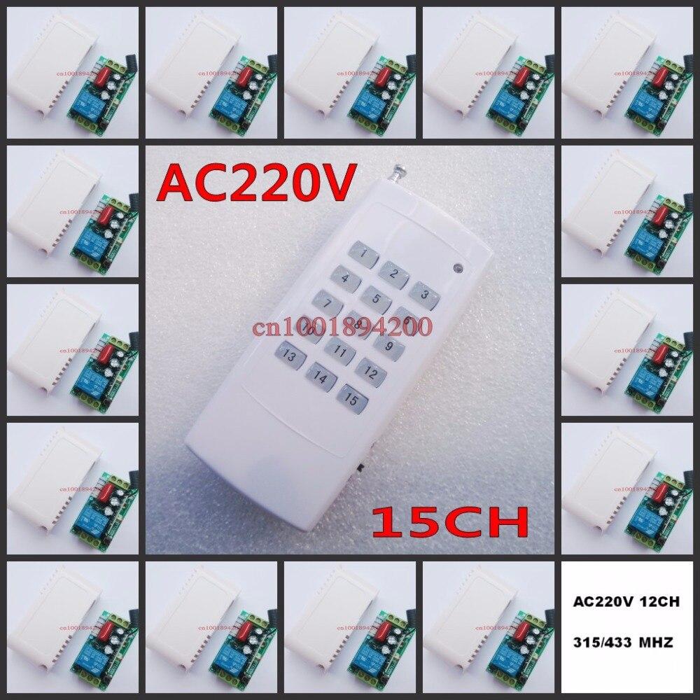 15CH système de commutateur de télécommande sans fil chaque CH est indépendant 10A code d'apprentissage bascule/LED momentané sur interrupteur sans fil