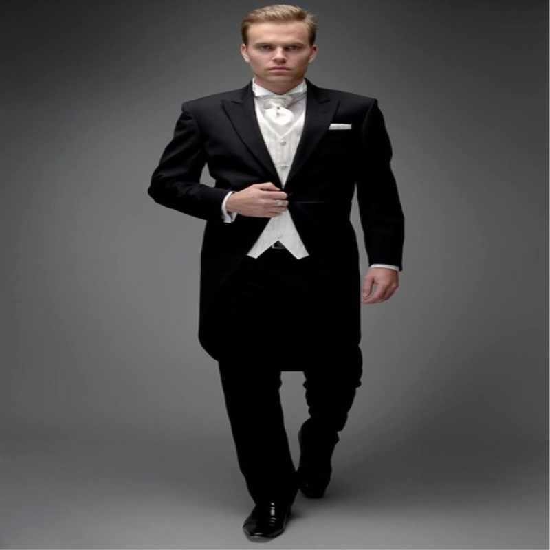 8098faf1ae7 Модные Для мужчин костюмы Фирменная Новинка черный фрак смокинг для жениха  свадебное платье Жених костюм best