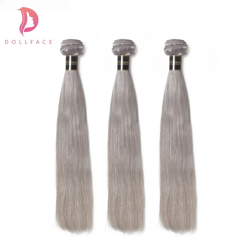Neueste Kollektion Von Dollface Menschliches Haar Bundles Gerade Grau Haarwebart Bundles 3 Stück Remy Haar Verlängerung Kostenloser Versand Ungleiche Leistung Salon Bündel-haare
